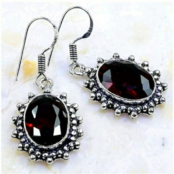 Garnet ~ Handcrafted 925SS Earrings